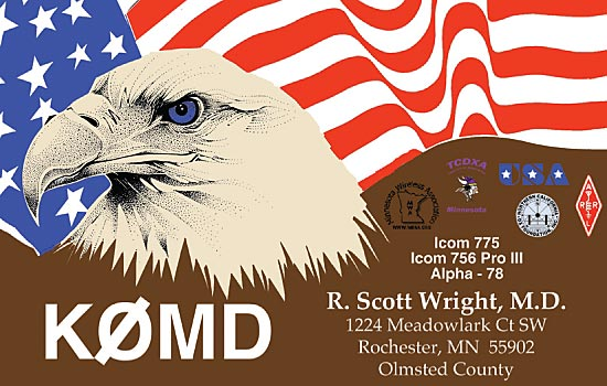 QSL cards with a color eagle design
