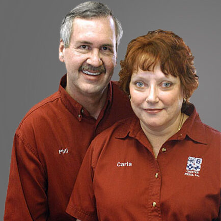 Chester Press owners, Phil and Carla, printing experts